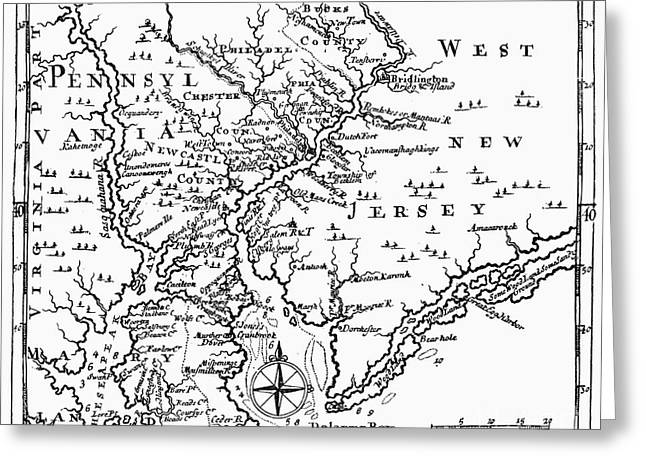 Recently Sold -  - 18th Century Greeting Cards - Map: Delaware River Greeting Card by Granger