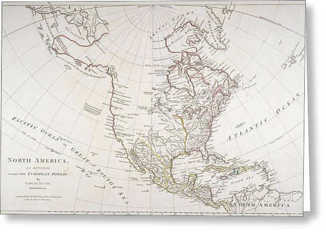 Atlas Greeting Cards - Map depicting North America as Divided by the European Powers Greeting Card by American School