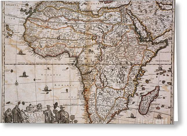 Map Of Africa, 1688 Greeting Card by Photo Researchers