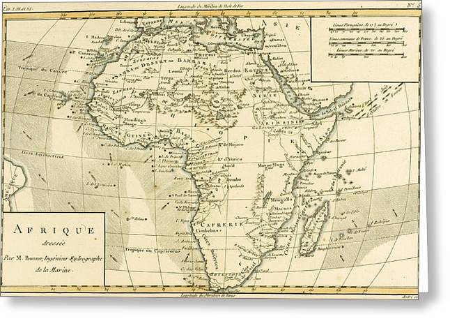Border Greeting Cards - Map of Africa Greeting Card by Guillaume Raynal