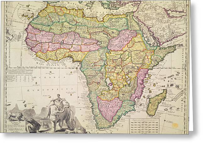 Continent Greeting Cards - Map of Africa Greeting Card by Pieter Schenk