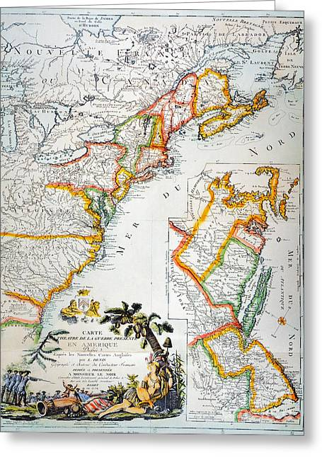 1779 Greeting Cards - Map Of America, 1779 Greeting Card by Granger