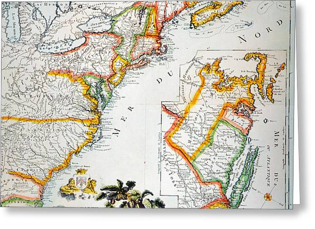 MAP OF AMERICA, 1779 Greeting Card by Granger