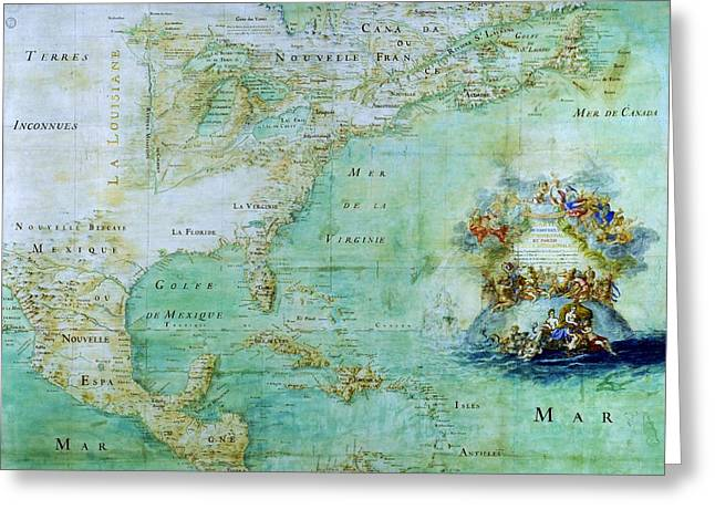Cartography Mixed Media Greeting Cards - Map of America  Greeting Card by Pg Reproductions