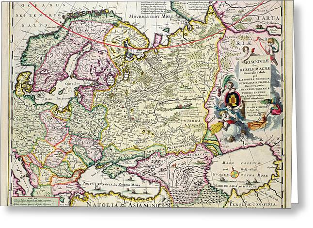 Seventeenth Greeting Cards - Map of Asia Minor Greeting Card by Nicolaes Visscher