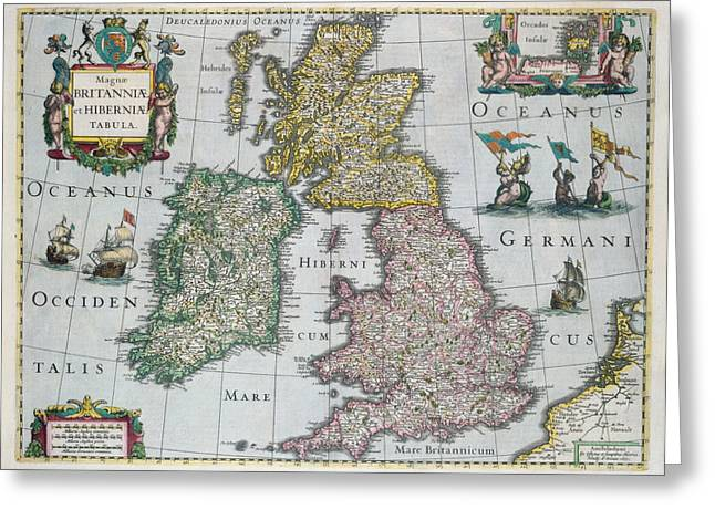 North Sea Greeting Cards - Map of Britain Greeting Card by English school