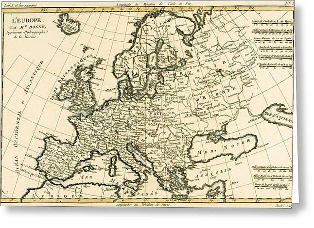 Geography Drawings Greeting Cards - Map of Europe Greeting Card by Guillaume Raynal