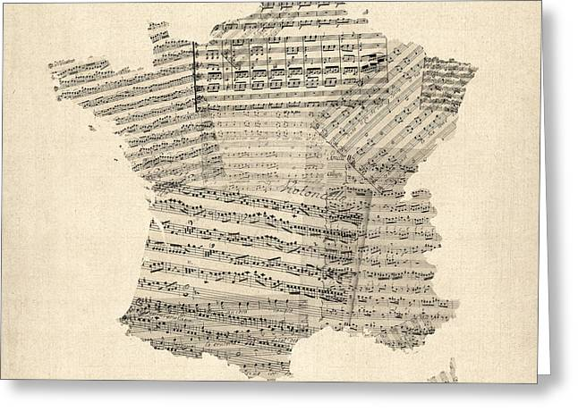 Sheet Greeting Cards - Map of France Old Sheet Music Map Greeting Card by Michael Tompsett