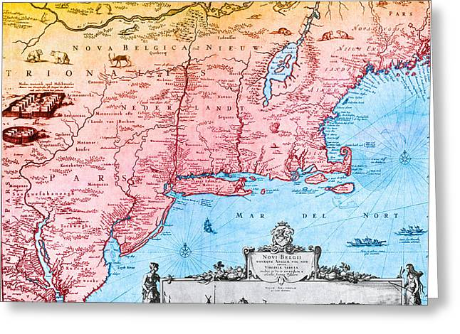 Map Of New Netherland, 1650s Greeting Card by Photo Researchers