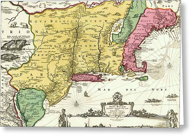 1656 Greeting Cards - Map of New Netherlands Greeting Card by Pg Reproductions