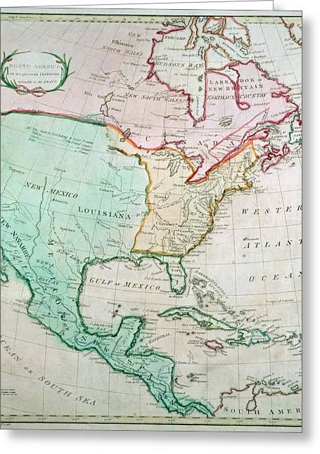 Map Paintings Greeting Cards - Map of North America Greeting Card by English School