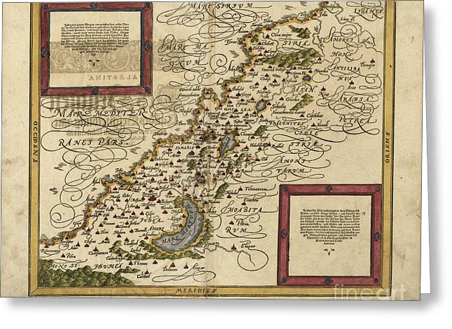 Judea Greeting Cards - Map Of Palestine, 1588 Greeting Card by Photo Researchers
