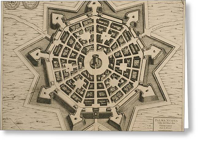 Points Drawings Greeting Cards - Map of Palmanova Greeting Card by French School