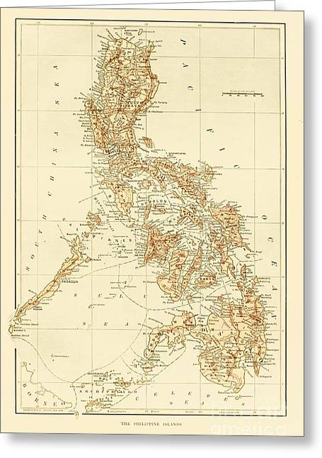 Vintage Map Canvas Greeting Cards - Map of Philippine Islands Greeting Card by Pg Reproductions