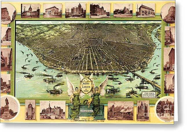 Map Of Saint Louis Greeting Card by Pg Reproductions
