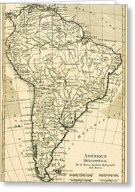 Border Drawings Greeting Cards - Map of South America Greeting Card by Guillaume Raynal