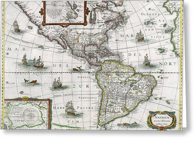 Vintage Map Paintings Greeting Cards - Map of the Americas Greeting Card by Henricus Hondius