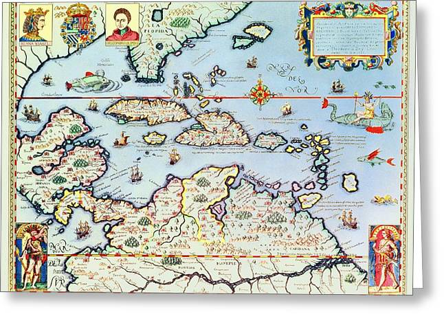 Best Sellers -  - Coloured Greeting Cards - Map of the Caribbean islands and the American state of Florida  Greeting Card by Theodore de Bry