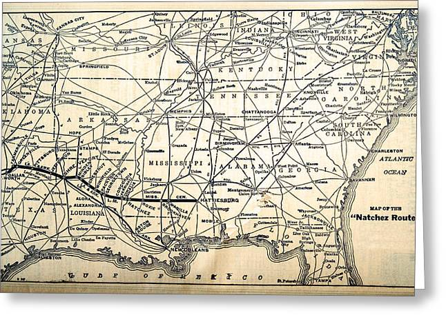 Susan Leggett Greeting Cards - Map of the Natchez Route Greeting Card by Susan Leggett