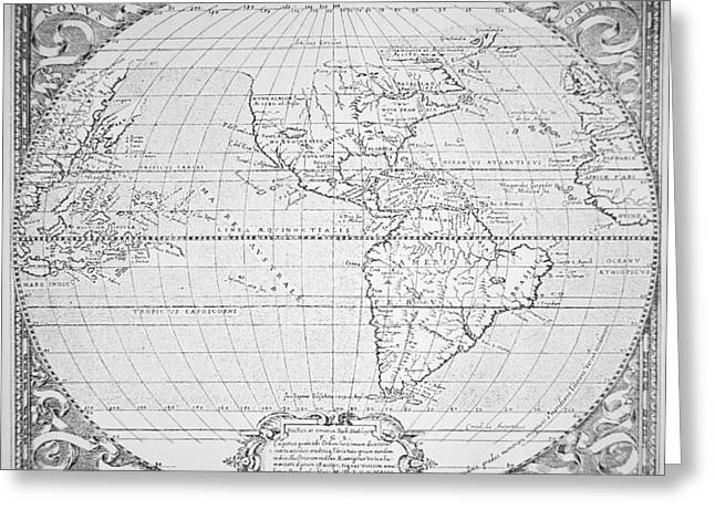 Atlas Greeting Cards - Map of the New World 1587 Greeting Card by Richard Hakluyt