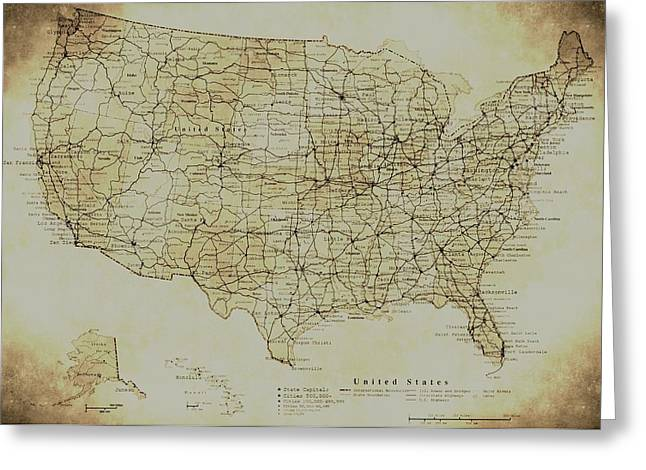America City Map Greeting Cards - Map of The United States in Digital Vintage Greeting Card by Sarah Broadmeadow-Thomas