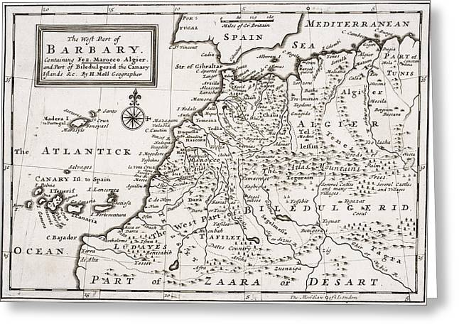 Treasures Drawings Greeting Cards - Map of the West Part of Barbary Greeting Card by Hermann Moll