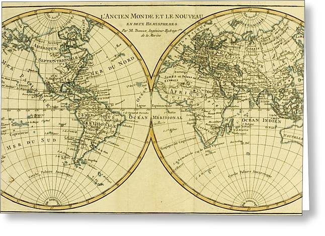 Longitude Greeting Cards - Map of the World in two Hemispheres Greeting Card by Guillaume Raynal