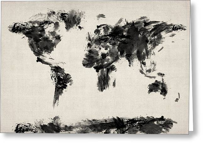 Maps Globes Greeting Cards - Map of the World Map Abstract Greeting Card by Michael Tompsett
