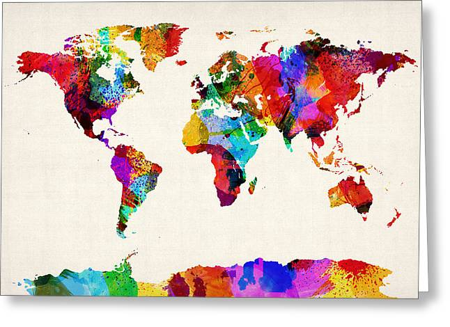 Maps Globes Greeting Cards - Map of the World Map Abstract Painting Greeting Card by Michael Tompsett