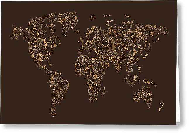Cartography Digital Greeting Cards - Map of the World Map Floral Swirls Greeting Card by Michael Tompsett