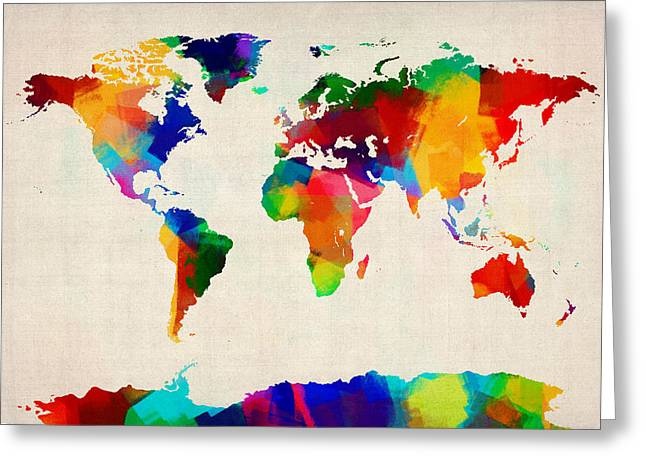 Grunge Greeting Cards - Map of the World Map Greeting Card by Michael Tompsett
