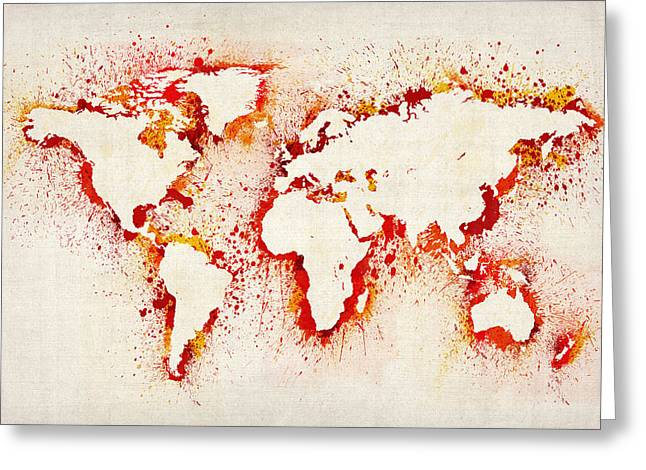 Maps Globes Greeting Cards - Map of the World Paint Splashes Greeting Card by Michael Tompsett