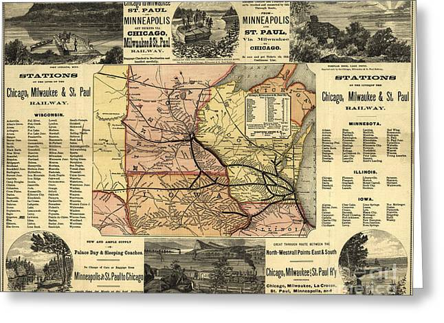 1874 Greeting Cards - Map: Railway, 1874 Greeting Card by Granger