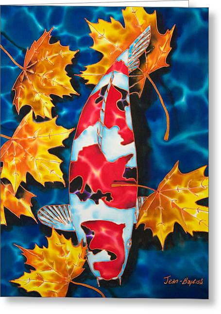 Pond Tapestries - Textiles Greeting Cards - Maple Leaves and Koi Greeting Card by Daniel Jean-Baptiste