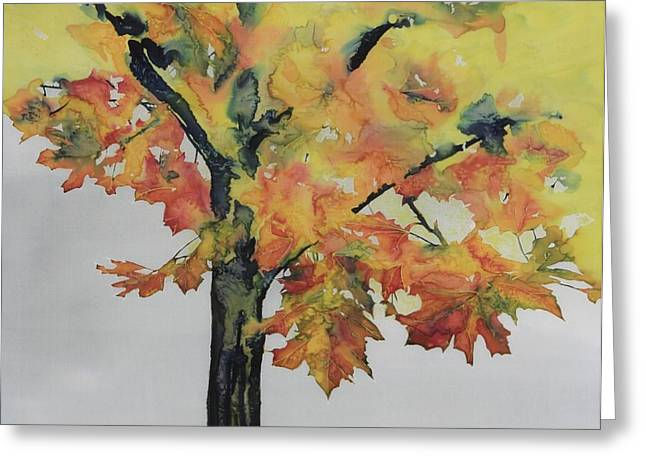 Colors Tapestries - Textiles Greeting Cards - Maple On Fire Greeting Card by Carolyn Doe