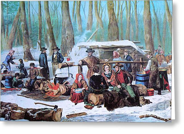 Sugaring Greeting Cards - Maple Sugaring, 1872 Greeting Card by Photo Researchers