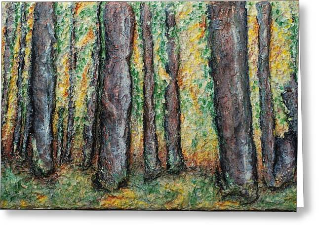 Autumn Art Reliefs Greeting Cards - Maple Trees Greeting Card by Alison  Galvan