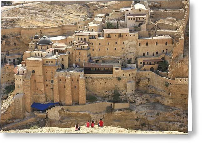 Judea Greeting Cards - Mar Saba, Greek Orthodox Monastery Greeting Card by Photostock-israel