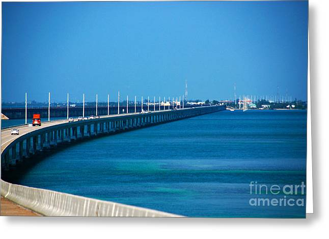 Famous Bridge Greeting Cards - Marathon and the 7Mile Bridge in the Florida Keys Greeting Card by Susanne Van Hulst