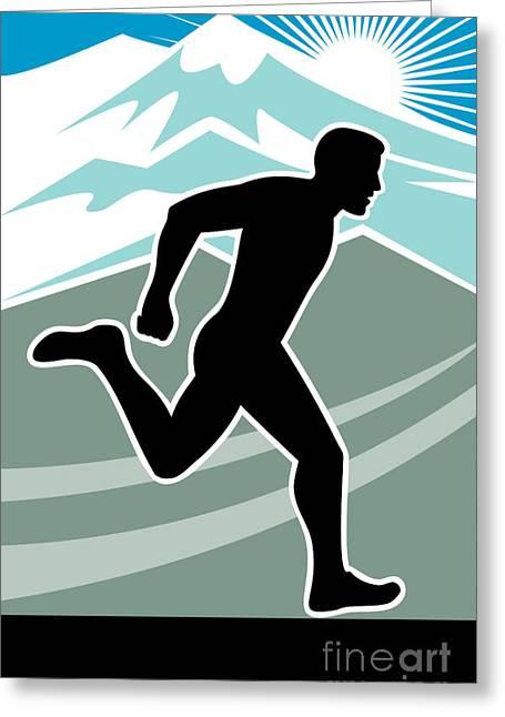 Jogging Greeting Cards - Marathon Runner Greeting Card by Aloysius Patrimonio