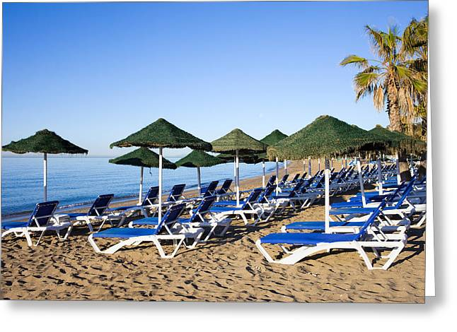 Lounger Greeting Cards - Marbella Beach and Sea Greeting Card by Artur Bogacki