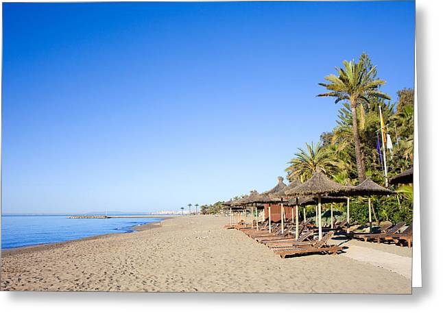 Lounger Greeting Cards - Marbella Beach  Greeting Card by Artur Bogacki