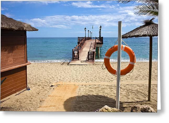 Marbella Beach In Spain Greeting Card by Artur Bogacki