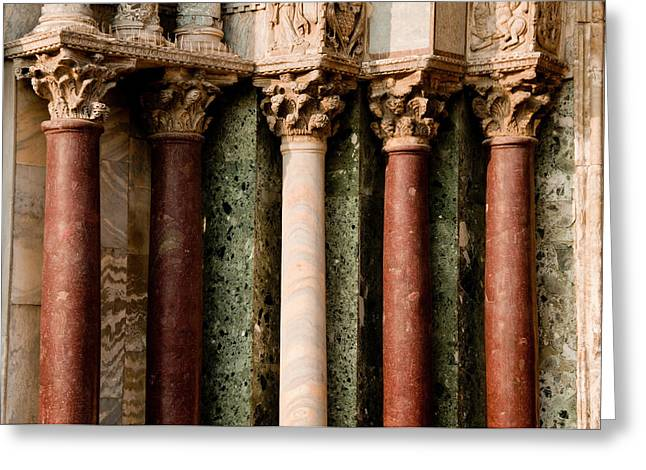 Photogaph Greeting Cards - Marble Columns Venice Italy Greeting Card by Xavier Cardell