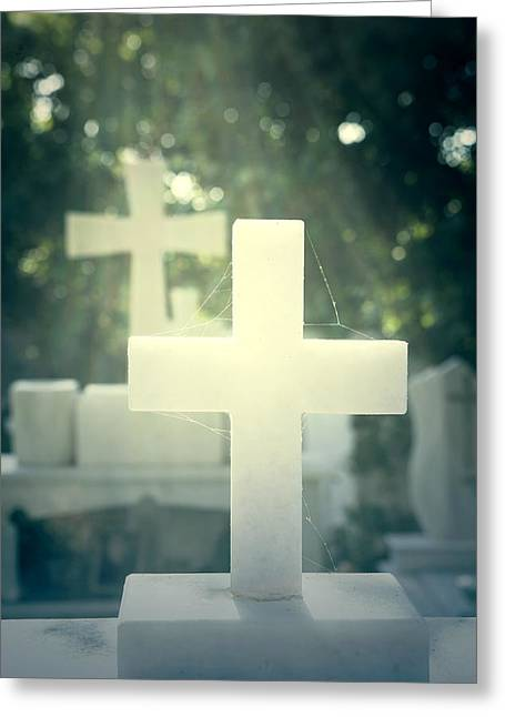 White Marble Greeting Cards - Marble Crosses Greeting Card by Joana Kruse