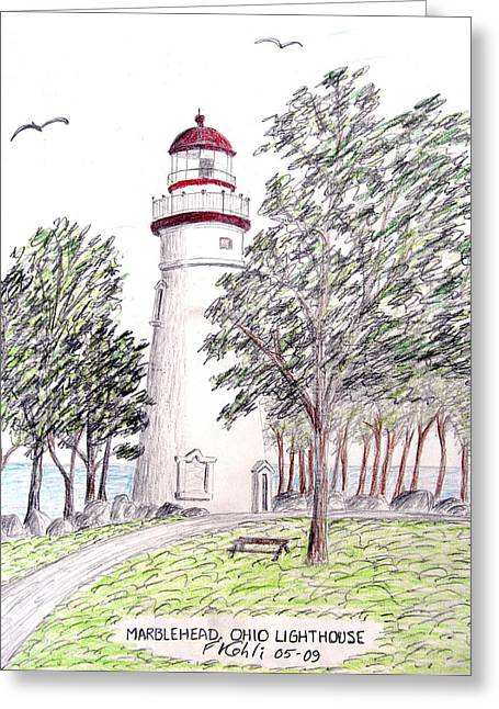 Landscape Art Greeting Cards - Marblehead Ohio Lighthouse  Greeting Card by Frederic Kohli