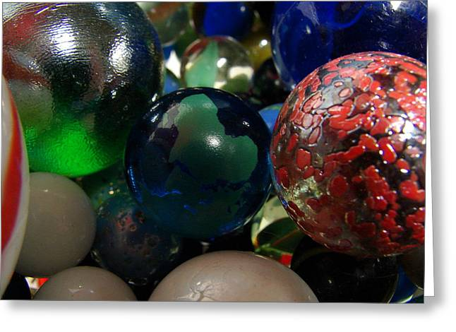 Cats Eye Marbles Greeting Cards - Marbles around the world Greeting Card by K Walker