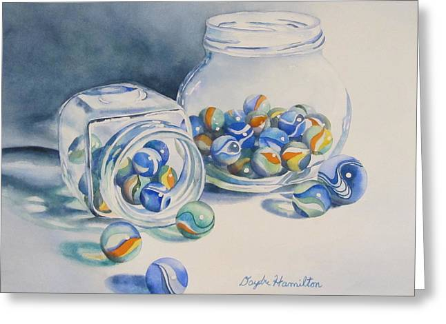 Marble Eye Paintings Greeting Cards - Marbles on Review Greeting Card by Daydre Hamilton