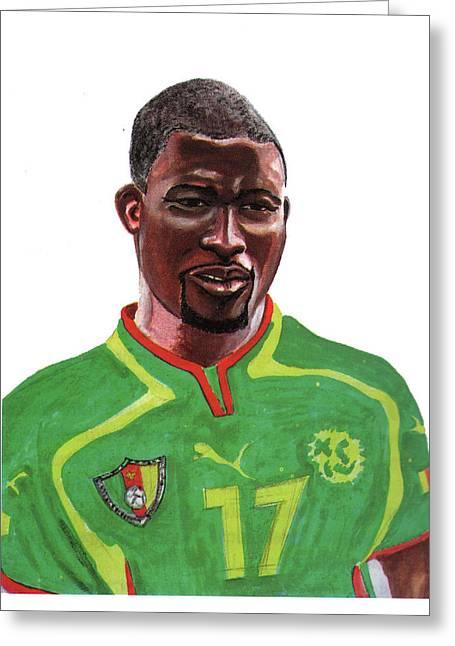 National Football League Drawings Greeting Cards - Marc Vivien Foe Greeting Card by Emmanuel Baliyanga