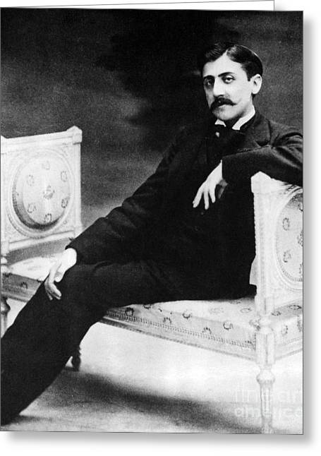 Written French Greeting Cards - Marcel Proust, French Author Greeting Card by Omikron